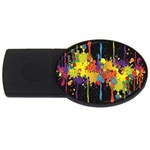 Crazy Multicolored Double Running Splashes Horizon USB Flash Drive Oval (2 GB)  Front