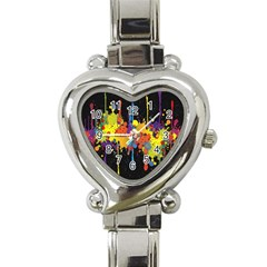 Crazy Multicolored Double Running Splashes Horizon Heart Italian Charm Watch by EDDArt