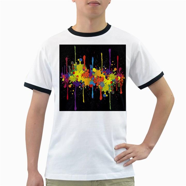 Crazy Multicolored Double Running Splashes Horizon Ringer T-Shirts