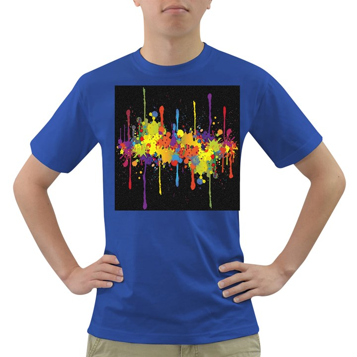 Crazy Multicolored Double Running Splashes Horizon Dark T-Shirt