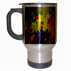 Crazy Multicolored Double Running Splashes Horizon Travel Mug (silver Gray)