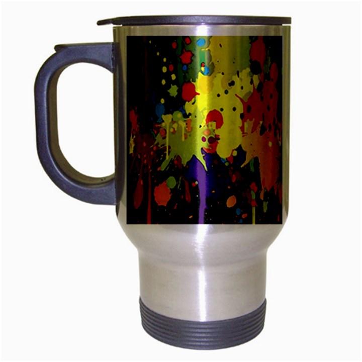 Crazy Multicolored Double Running Splashes Horizon Travel Mug (Silver Gray)