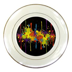 Crazy Multicolored Double Running Splashes Horizon Porcelain Plates by EDDArt