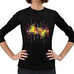 Crazy Multicolored Double Running Splashes Horizon Women s Long Sleeve Dark T-Shirts Front