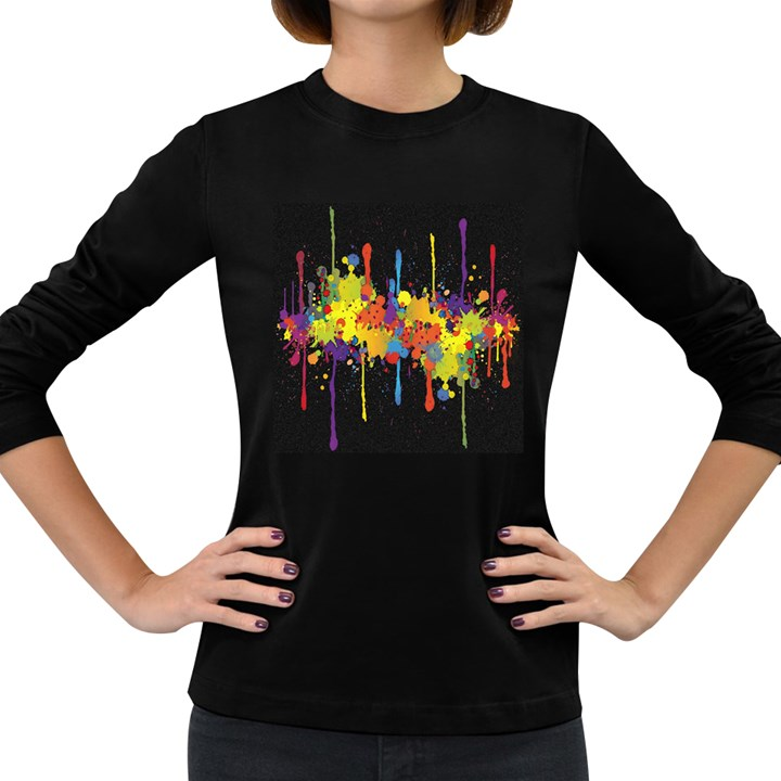 Crazy Multicolored Double Running Splashes Horizon Women s Long Sleeve Dark T-Shirts
