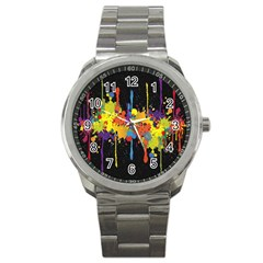 Crazy Multicolored Double Running Splashes Horizon Sport Metal Watch