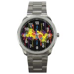 Crazy Multicolored Double Running Splashes Horizon Sport Metal Watch Front