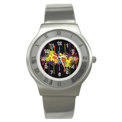 Crazy Multicolored Double Running Splashes Horizon Stainless Steel Watch