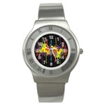 Crazy Multicolored Double Running Splashes Horizon Stainless Steel Watch Front