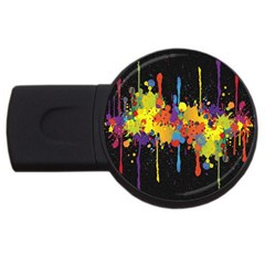 Crazy Multicolored Double Running Splashes Horizon Usb Flash Drive Round (4 Gb)  by EDDArt