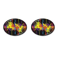 Crazy Multicolored Double Running Splashes Horizon Cufflinks (oval)