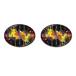 Crazy Multicolored Double Running Splashes Horizon Cufflinks (Oval) Front