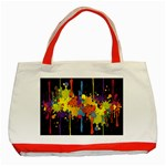 Crazy Multicolored Double Running Splashes Horizon Classic Tote Bag (Red)