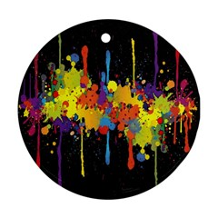 Crazy Multicolored Double Running Splashes Horizon Round Ornament (two Sides)  by EDDArt