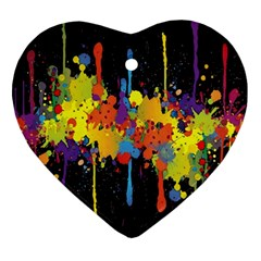Crazy Multicolored Double Running Splashes Horizon Heart Ornament (2 Sides) by EDDArt