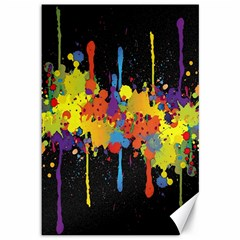 Crazy Multicolored Double Running Splashes Horizon Canvas 12  X 18   by EDDArt
