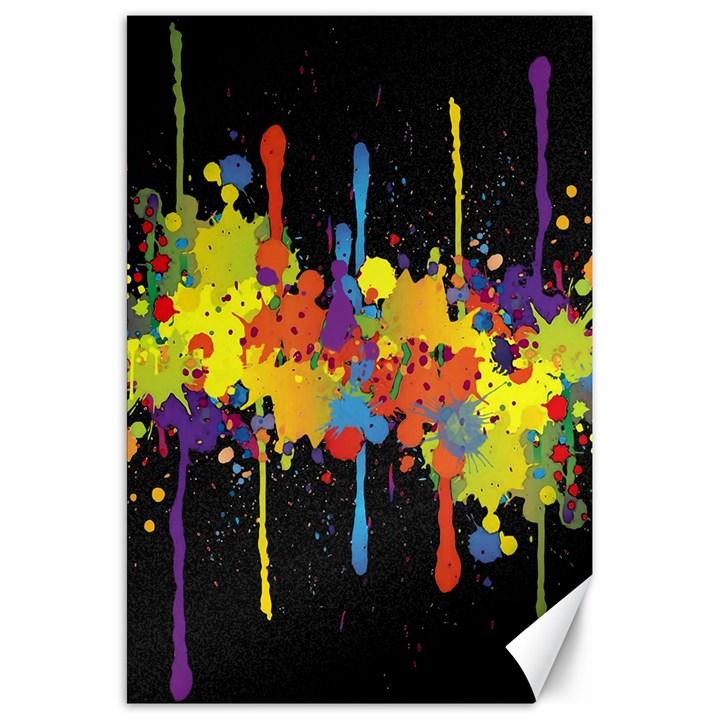 Crazy Multicolored Double Running Splashes Horizon Canvas 20  x 30