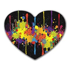 Crazy Multicolored Double Running Splashes Horizon Heart Mousepads by EDDArt