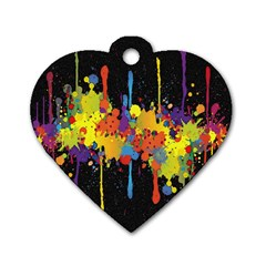Crazy Multicolored Double Running Splashes Horizon Dog Tag Heart (two Sides) by EDDArt