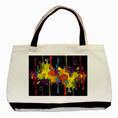 Crazy Multicolored Double Running Splashes Horizon Basic Tote Bag (two Sides)