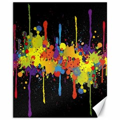 Crazy Multicolored Double Running Splashes Horizon Canvas 11  X 14   by EDDArt