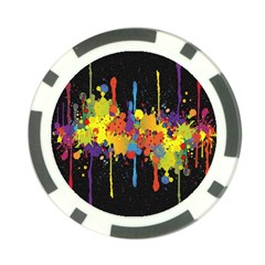 Crazy Multicolored Double Running Splashes Horizon Poker Chip Card Guards by EDDArt