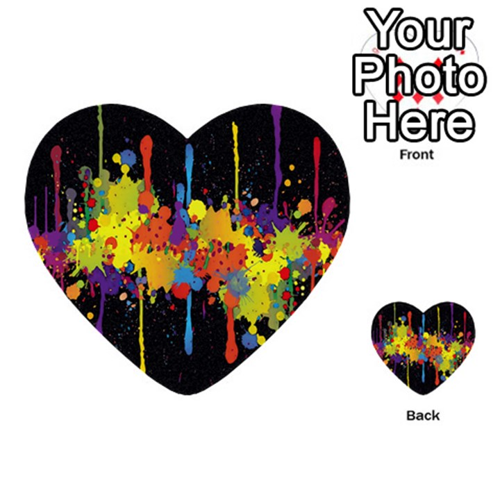 Crazy Multicolored Double Running Splashes Horizon Multi-purpose Cards (Heart)