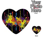 Crazy Multicolored Double Running Splashes Horizon Multi-purpose Cards (Heart)  Front 4
