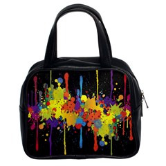 Crazy Multicolored Double Running Splashes Horizon Classic Handbags (2 Sides) by EDDArt
