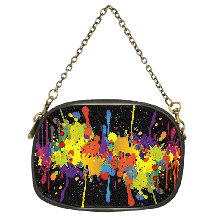 Crazy Multicolored Double Running Splashes Horizon Chain Purses (One Side)