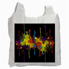 Crazy Multicolored Double Running Splashes Horizon Recycle Bag (one Side) by EDDArt