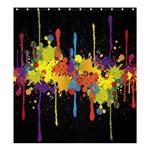 Crazy Multicolored Double Running Splashes Horizon Shower Curtain 66  x 72  (Large)