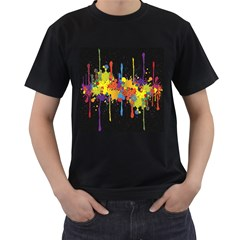 Crazy Multicolored Double Running Splashes Horizon Men s T Shirt (black)