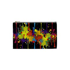 Crazy Multicolored Double Running Splashes Horizon Cosmetic Bag (small)  by EDDArt