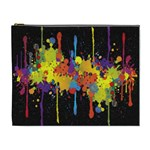 Crazy Multicolored Double Running Splashes Horizon Cosmetic Bag (XL) Front