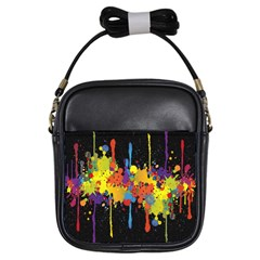 Crazy Multicolored Double Running Splashes Horizon Girls Sling Bags by EDDArt