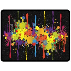Crazy Multicolored Double Running Splashes Horizon Fleece Blanket (large)