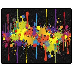 Crazy Multicolored Double Running Splashes Horizon Fleece Blanket (medium)  by EDDArt