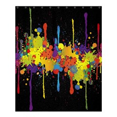 Crazy Multicolored Double Running Splashes Horizon Shower Curtain 60  X 72  (medium)