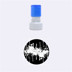 Crazy Multicolored Double Running Splashes Horizon Rubber Round Stamps (small) by EDDArt