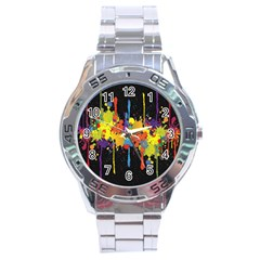 Crazy Multicolored Double Running Splashes Horizon Stainless Steel Analogue Watch by EDDArt