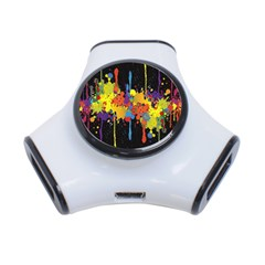 Crazy Multicolored Double Running Splashes Horizon 3 Port Usb Hub