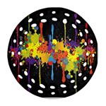Crazy Multicolored Double Running Splashes Horizon Ornament (Round Filigree)