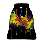 Crazy Multicolored Double Running Splashes Horizon Ornament (Bell)  Front