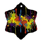 Crazy Multicolored Double Running Splashes Horizon Snowflake Ornament (2-Side) Front