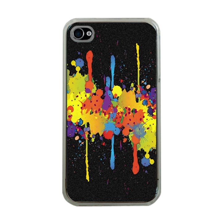 Crazy Multicolored Double Running Splashes Horizon Apple iPhone 4 Case (Clear)