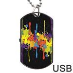 Crazy Multicolored Double Running Splashes Horizon Dog Tag USB Flash (One Side)