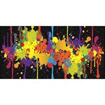 Crazy Multicolored Double Running Splashes Horizon Happy Birthday 3D Greeting Card (8x4) Front