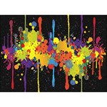 Crazy Multicolored Double Running Splashes Horizon Heart 3D Greeting Card (7x5) Front
