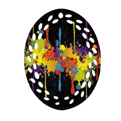Crazy Multicolored Double Running Splashes Horizon Oval Filigree Ornament (2 Side)